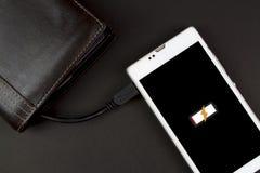 Il portafoglio con energia di potere può smartphone di carico Fotografia Stock Libera da Diritti