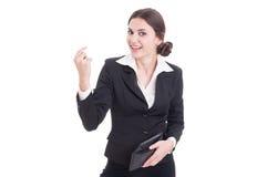 Il portafoglio della tenuta della donna di affari ed i soldi felici di rappresentazione gesture fotografie stock libere da diritti