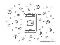 Il portafoglio mobile dei soldi con le monete vector illustrazione al tratto lineare Fotografie Stock Libere da Diritti