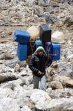 Il portatore di Sherpa sostiene l'onere gravoso in Himalaya al viaggio del campo base di Everest, Nepal Immagini Stock Libere da Diritti