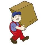 Il portatore porta una scatola Fotografia Stock