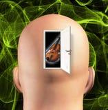 Il portello da occuparsi di rivela il violino Immagine Stock