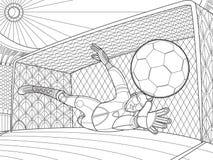 Il portiere di calcio ha battuto l'illustrazione di vettore del disegno della mano della palla Illustrazione di Stock