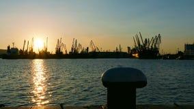 Il porto del carico cranes la siluetta sul tramonto video d archivio