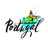 Il Portogallo il logo della destinazione di viaggio Immagini Stock