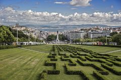 Il Portogallo, Lisbona Entrata al Parque Eduardo VII fotografia stock