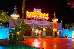 Il portone del palazzo di fiaba del leila di wa di leila di Alf, EL di Sharm SH immagine stock