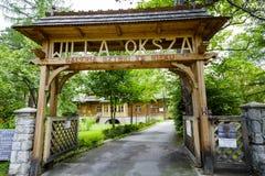 Il portone dell'entrata alla proprietà di Oksza in Zakopane Fotografia Stock Libera da Diritti