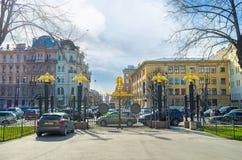 Il portone della cattedrale di trasfigurazione a St Petersburg Fotografia Stock