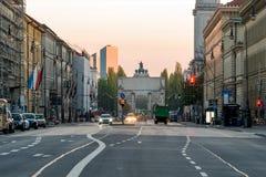 Il portone storico di Siegestor a Monaco di Baviera, Germania immagine stock libera da diritti