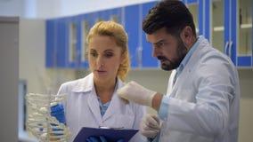 Il positivo occupato di ricerca discuter a fondoe la genetica in laboratorio stock footage
