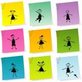 Il post-it ha impostato con i bambini disegnati a mano Fotografia Stock Libera da Diritti