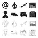Il postino in uniforme, macchina della posta, borsa per corrispondenza, ufficio postale Icone stabilite della raccolta del postin Immagine Stock