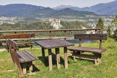 Il posto con la vista aerea sopra il lago ha sanguinato, castello ed alpi Fotografie Stock Libere da Diritti