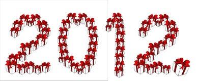 Il posto del contenitore di regalo ed ha fissato 2012 nuovi anni Immagini Stock Libere da Diritti