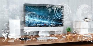 Il posto di lavoro con i dispositivi e l'ologramma moderni scherma la rappresentazione 3D Immagini Stock Libere da Diritti