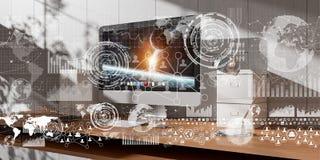 Il posto di lavoro con i dispositivi e l'ologramma moderni scherma la rappresentazione 3D Immagine Stock