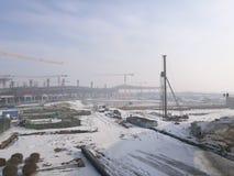 Il posto di lavoro per il nuovo aeroporto di Longjia dopo la nevicata Immagine Stock