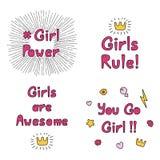 Il potere della ragazza cita la raccolta royalty illustrazione gratis