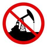 Il pozzo di petrolio è abbandonato, si elimina, vietato, proibito e fermato illustrazione vettoriale