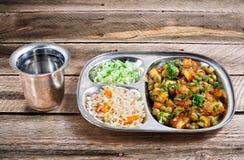 Il pranzo indiano complesso mormora il paneer fotografie stock