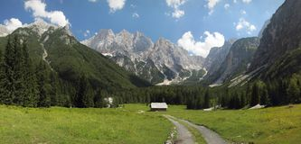 Il prato della montagna nelle alpi di Julian si avvicina a Krajnska Gora Fotografie Stock