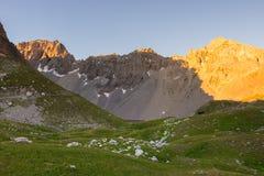 Il prato ed il pascolo alpini hanno messo in mezzo della catena montuosa di elevata altitudine ai tramonti Le alpi italiane, dest Fotografie Stock