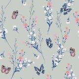 Il prato pastello dolce fiorisce il salto nel vento con le farfalle illustrazione di stock
