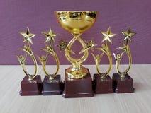 Il premio dorato foggia a coppa Trophys immagine stock libera da diritti