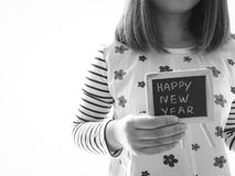 Il presente della donna celebra i nuovi anni Fotografie Stock