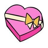 Il presente ed il cuore hanno modellato i contenitori di regalo del fumetto con l'arco del nastro fotografia stock