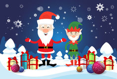 Il presente sorridente di festa di Santa Claus And Christmas Elf With inscatola il buon anno Fotografia Stock