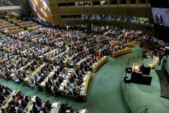 Il Presidente degli Stati Uniti Barack Obama tiene un discorso, l'assemblea generale delle nazioni unite Immagini Stock