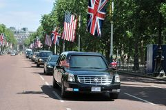 Il Presidente Obama arriva al Buckingham Palace Fotografia Stock