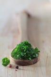 Foglie fresche del prezzemolo su un cucchiaio di legno immagine stock libera da diritti