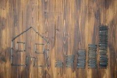 Il prezzo della casa aumenta, aumento del mercato degli alloggi, gruppo di chiodo Fotografie Stock Libere da Diritti