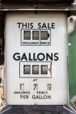 Il prezzo di benzina Indicatore del carburante d'annata dell'automobile valutato negli scellini immagine stock