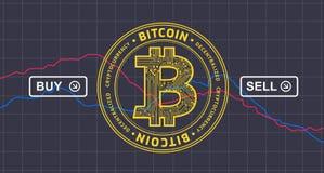 Il prezzo di Bitcoin cade giù il infographics - il cryptocurrency v del bitcoin Immagini Stock