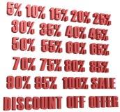 Il prezzo di sconto dell'insieme dell'icona di vendita di numeri di sconto d fuori e le vendite progettano i simboli di acquisto  illustrazione di stock