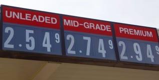 Il prezzo di senza piombo, del mezzo grado e del gas premio immagini stock libere da diritti