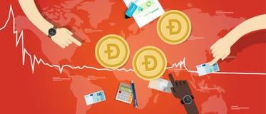 Il prezzo virtuale digitale del valore di scambio di diminuzione della moneta del doge giù traccia una carta del rosso Fotografie Stock
