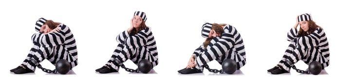 Il prigioniero in uniforme a strisce su bianco Fotografie Stock Libere da Diritti