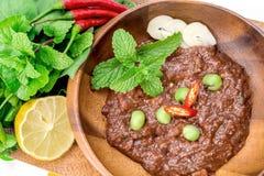 Il prik del nam di cucina o la pasta tailandese del peperoncino rosso si mescola immagini stock libere da diritti