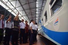 Il prima del viaggio di treno espresso di Ambarawa Immagini Stock Libere da Diritti