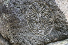 Il primitivo dipende le pietre del basalto Fotografie Stock