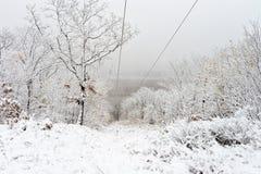 Il primo fiume Amur della neve nella caduta è caduto presto fotografie stock