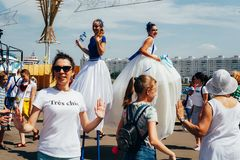 Il primo giorno dei secondi giochi europei Il palazzo principale degli sport, Minsk di zona del fan immagini stock libere da diritti