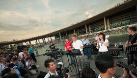 Il Primo Ministro di Singapore canta Fotografie Stock Libere da Diritti