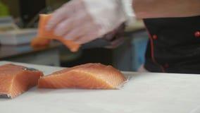 Il primo piano del cuoco unico di sushi in guanti affetta il salmone fresco alla barra di sushi video d archivio