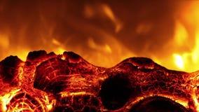 Il primo piano della fiamma bruciante luminosa e collega il camino elettrico stock footage